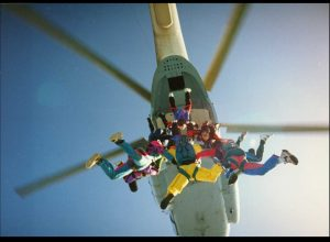 skydiverteam with leader